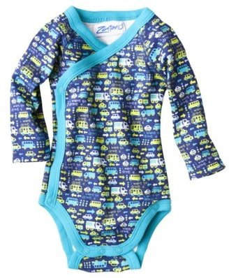 Zutano ZUTANOBLUE Newborn Boys Transportation Print Bodysuit - Blue