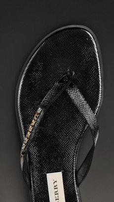 Burberry Patent London Leather Flip Flops