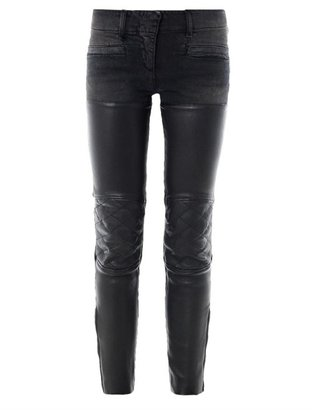 R 13 Leather chaps mid-rise skinny biker jeans