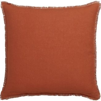 """Crate & Barrel Eyelash Orange and Wine 20"""" Pillow with Down Insert"""