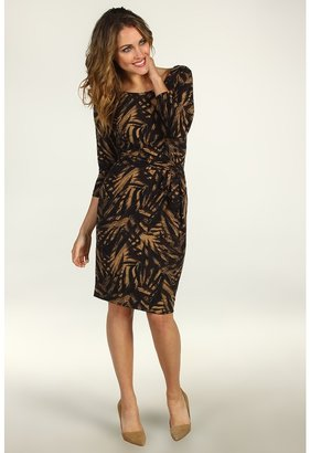 Anne Klein Leaf Print Faux Wrap Dress (Chocolate Brown/Cappuccino) - Apparel