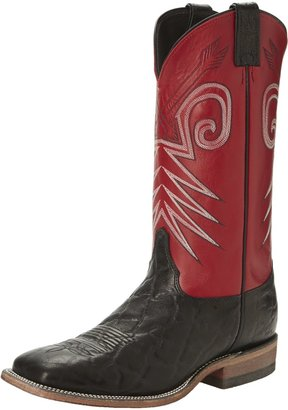 """Justin Boots Men's U.S.A. Bent Rail Collection 13"""" Boot Wide Square Double Stitch Toe Leather Outsole Black Wildebeest/Red Classic 13 D US"""