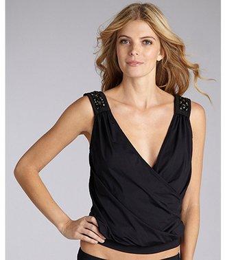 Badgley Mischka black nylon jewewl shoulder layered tankini top