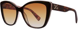 Dolce & Gabbana Women`s polar brown gradient butterfly sunglasses