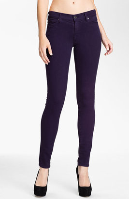 7 For All Mankind 'Slim Illusion' Overdyed Skinny Stretch Jeans (Blackberry)