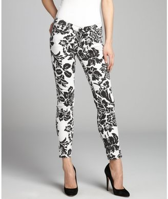 AG Adriano Goldschmied black and white floral stretch denim 'The Legging Ankle' jean