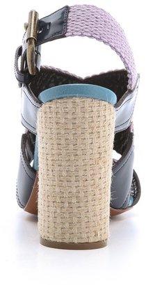 Rochas Canvas Woven Heel Sandals