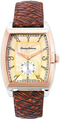 Tommy Bahama Watch, Men's Swiss Amber Brown Basketweave Leather Strap 36mm TB1220