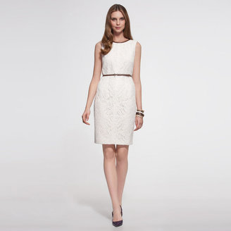 Anne Klein Lace Darted Sheath With Faux Leather Trim