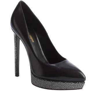 Saint Laurent black leather pebbled heel pointed toe platform pumps