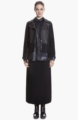 Sandro 'Version' Belted Leather & Wool Moto Jacket