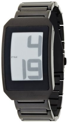 Phosphor Unisex DH06 Digital Hour E-INK Curved Black Ion-Plated Metal Band Watch