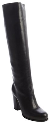 Prada black leather side zip detail tall boots
