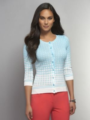 New York & Co. Dotted Crew-Neck Cardigan with Striped Trim
