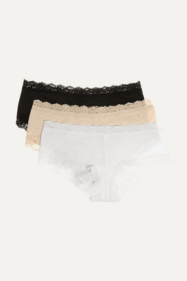 Hanky Panky Set Of Three Lace-trimmed Stretch-organic Cotton Jersey Boy Shorts - Black