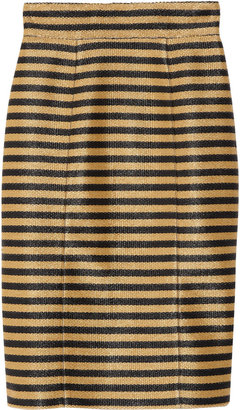 Burberry Striped raffia-weave skirt