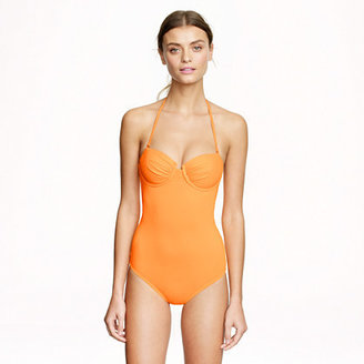 J.Crew Neon ruched underwire one-piece swimsuit