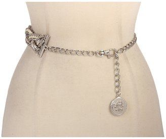 Jessica Simpson Chain Belt With Rope and Logo (Nickel) - Apparel