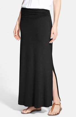 Petite Women's Bobeau Ruched Waist Side Slit Maxi Skirt $44 thestylecure.com