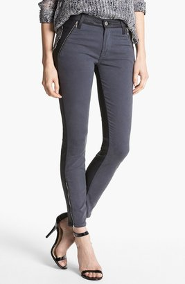 7 For All Mankind 'Pieced' Contrast Back Skinny Jeans (Grey Jeather)