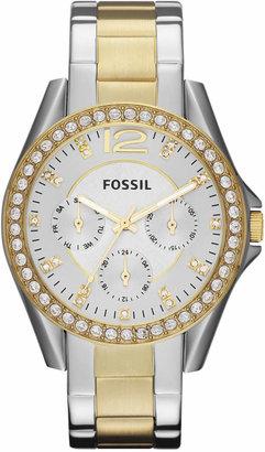 Fossil Women Riley Two Tone Stainless Steel Bracelet Watch 38mm ES3204