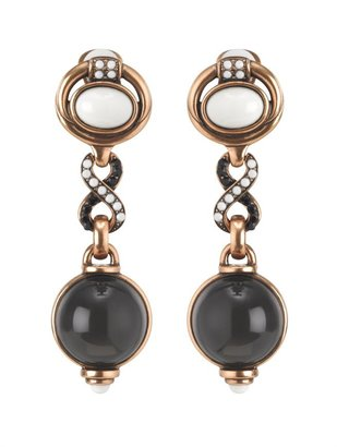 Oscar de la Renta Double Cabochon With Pave Twist