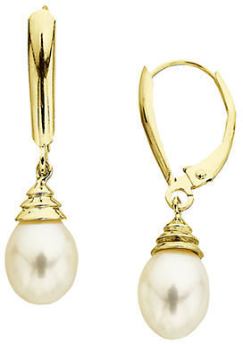 Lord & Taylor Freshwater Pearl Drop Earrings in 14 Kt. Gold