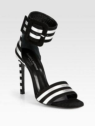 Saint Laurent Paloma Metallic Leather & Suede Ankle Strap Sandals