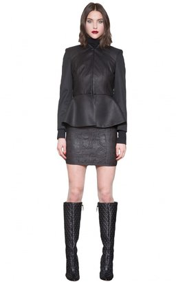 Alice + Olivia Polly Leather Front Peplum Jacket