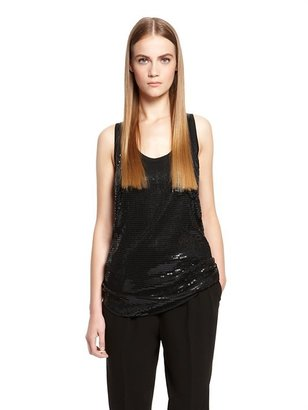 DKNY Asymmetrical Scoopneck Tank with Sequin Front