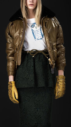 Burberry Cropped Leather Bomber Jacket