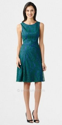 Adrianna Papell Asymmetric Piping Fit and Flare Lace Dresses