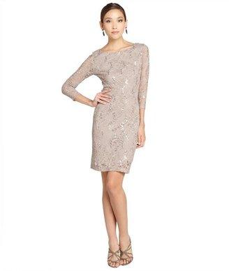Marina taupe stretch sequin lace three-quarter sleeve dress