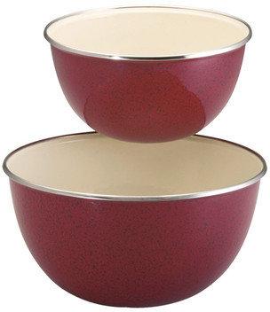Paula Deen 2 Piece Enamel on Steel Mixing Bowl Set in Red