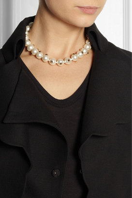 Valentino Studded Swarovski faux pearl necklace