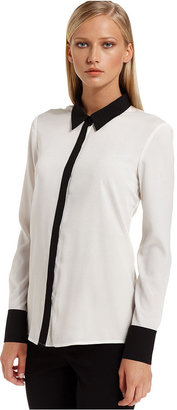 Calvin Klein Top, Long-Sleeve Colorblocked Blouse