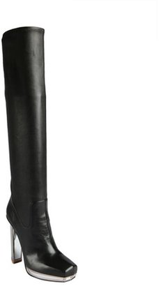 Saint Laurent black leather and mirrored heel platform tall boots