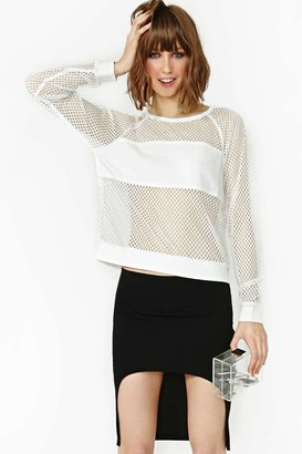Nasty Gal Time Out Mesh Tee - White