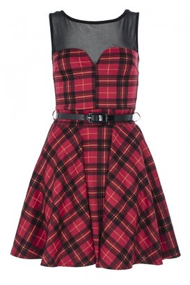 Quiz Red Tartan Mesh Skater Dress