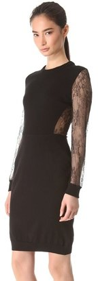 Peter Som Knit Dress with Black Lace Sleeves