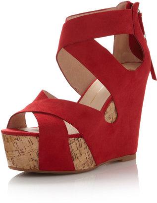 Dolce Vita Jaime Suede Cork Wedge Sandal, Red