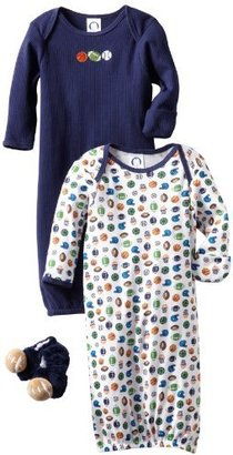 Gerber Baby-Boys Sports 2 Pack Gown And Velboa Bootie Bundle