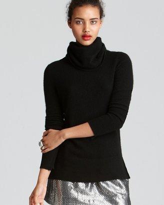 Aqua Cashmere Sweater - High Low Turtleneck