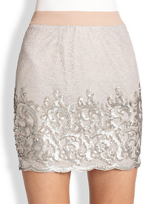 BCBGMAXAZRIA Ainslie Sequined Lace Skirt