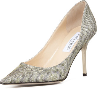 Jimmy Choo Agnes Glittery Pointed-Toe Pump, Pewter