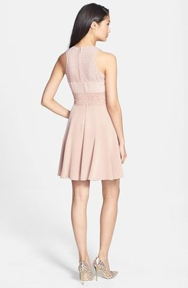 Rebecca Taylor Pleated Lace A-Line Dress