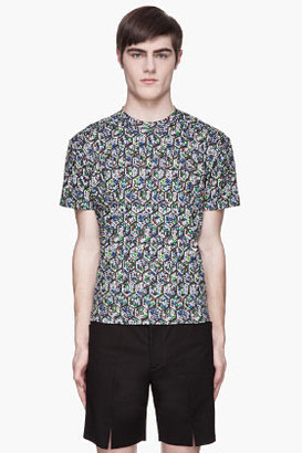 Raf Simons Green and grey Fence and Flower Print t-shirt