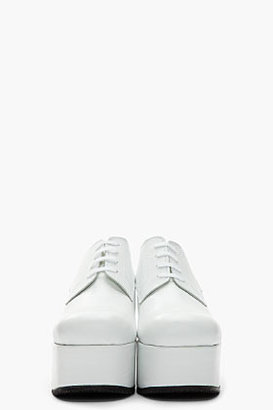 Comme des Garcons White Derby Wedge Platforms