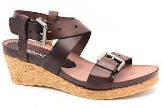 """Cordani Sodiac"""" Brown Leather Wedge Platform Sandal"""