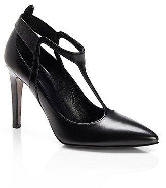 HUGO BOSS Talia Shiny Leather T-Strap Pumps - Black